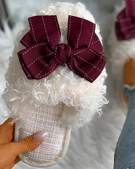 Bowknot Decor Fluffy Slippers