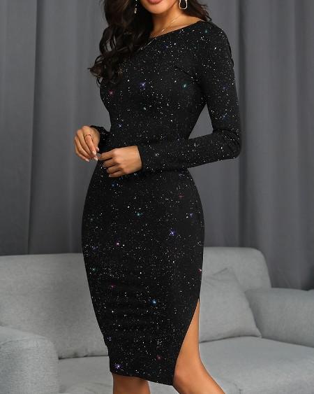 Glitter Open Back Sleeve Bodycon Dress