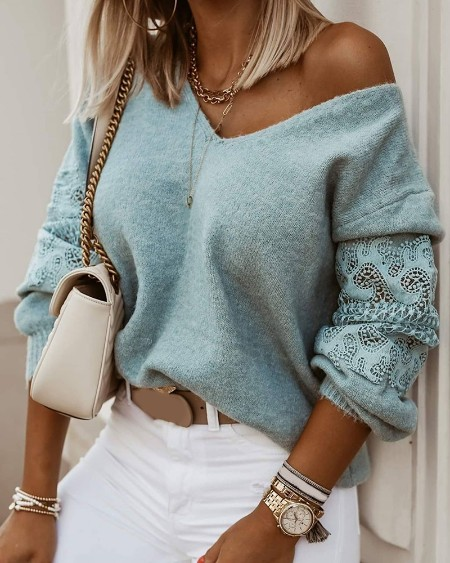Lace Hollow Out Fluffy Casual Sweater