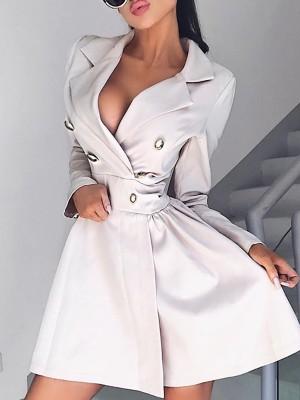 Long Sleeve Button Design Blazer Dress