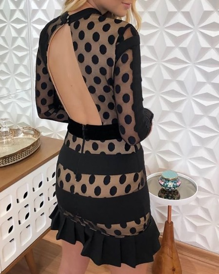Dot Mesh Insert Open Back Pleated Hem Dress