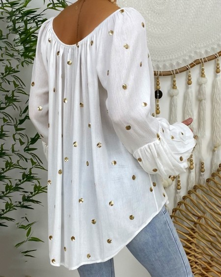 Polkadot Tassel Design Lantern Sleeve Casual Top