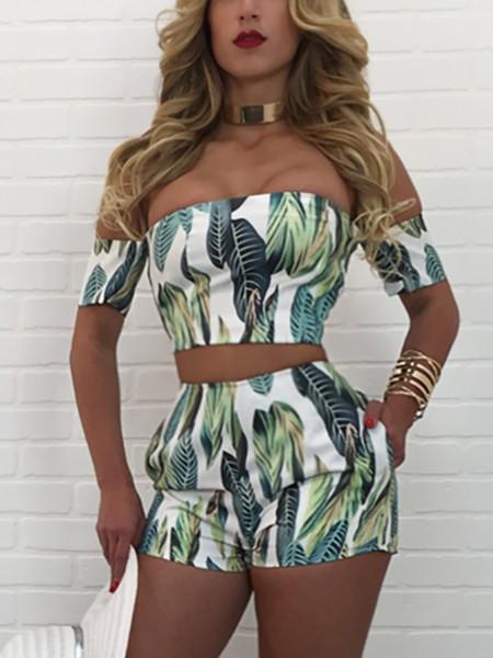 Leaf Print Off Shoulder Crop Top & Shorts Set