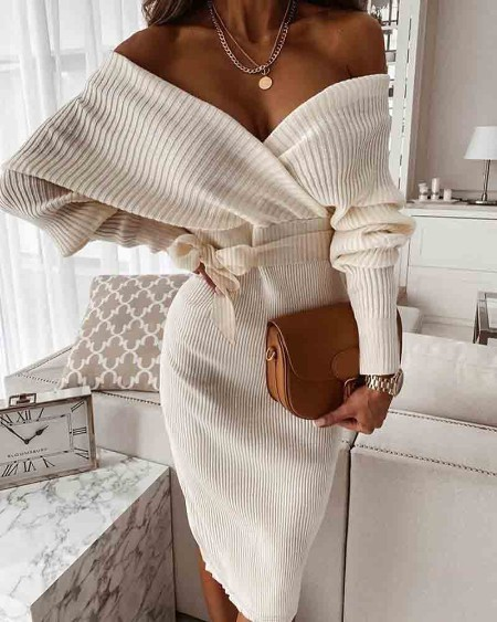 Ribbed Tied Detail Sweater Dress