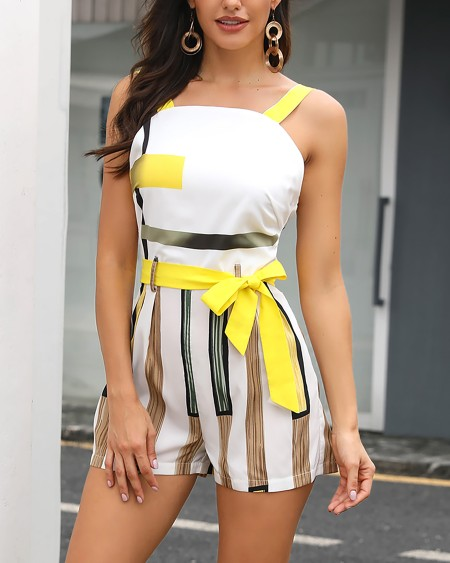 Colorblock Striped Thin Strap Romper