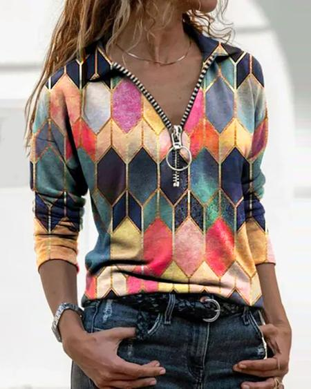 Zipper Design Abstract Print Blouse