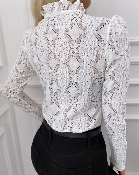 Cutout Lace-up Front Puff Sleeve Lace Top