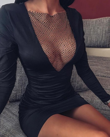 Deep V Fishnet Stitching Mini Dress