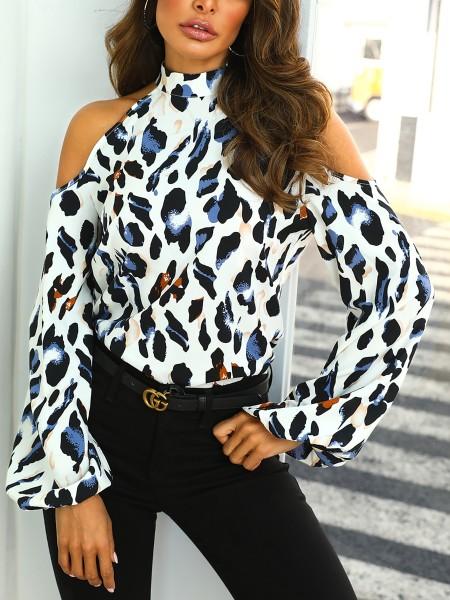 Cold Shoulder Leopard Print Blouse
