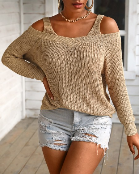 Plain Long Sleeve Cold Shoulder Sweater