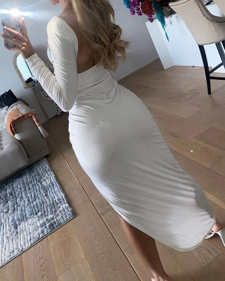 Plain High Slit Ruched Backless Maxi Dress