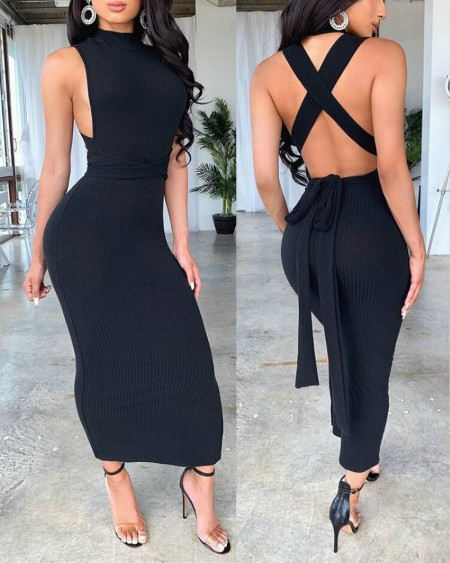 Solid Ribbed Crisscross Backless Dress