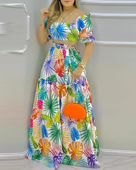 Tropical Print Off Shoulder Maxi Top & Skirt Set
