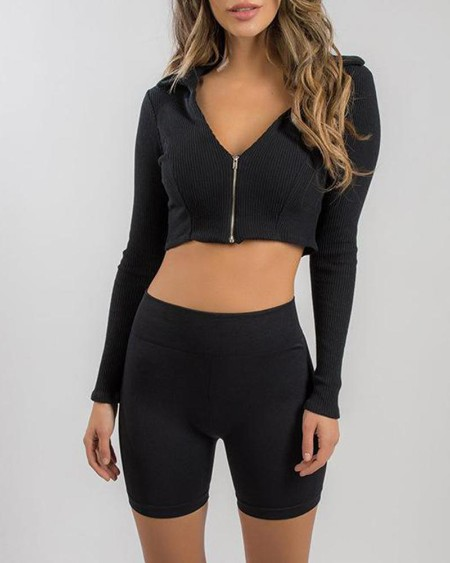 Solid V Neck Zip Front Crop Top