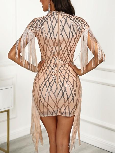 Tassel Detail Cut Out Sequin Party Dress