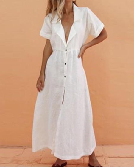 boutiquefeel / V-Neck Solid Lapel Short Sleeve Maxi Dress