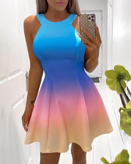 Gradient Color Sleeveless Skater Dress