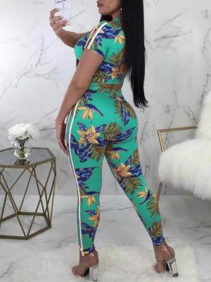 Floral Print Crop Top&Drawstring Pants Set
