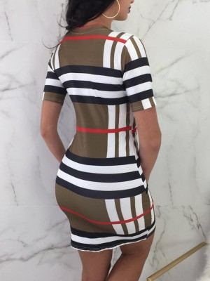 Contrast Striped Mini Shesth Dress