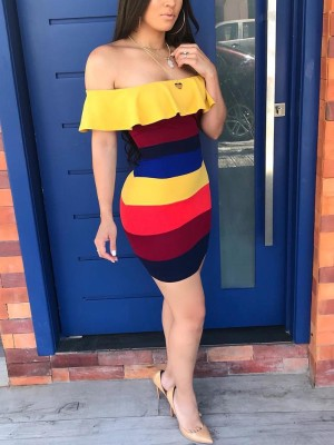Off Shoulder Contrast Colorful Bodycon dress