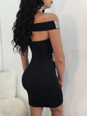 Off Shoulder Sequins Bandage Cutout Bodycon Dress