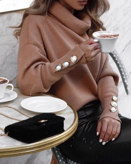 Solid Buttoned Cuff Batwing Sleeve Sweater