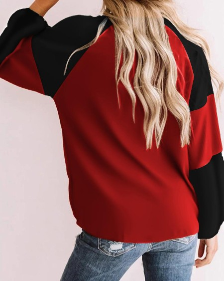Mixed Print Long Sleeve Casual Sweatshirt