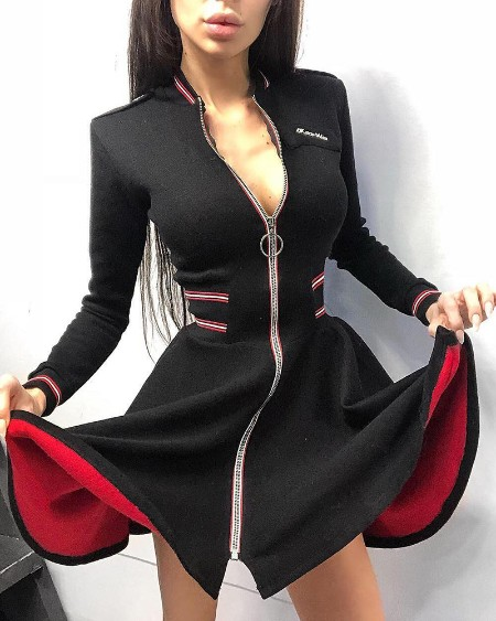 Long Sleeve Skinny Zipper Design Mini Dress
