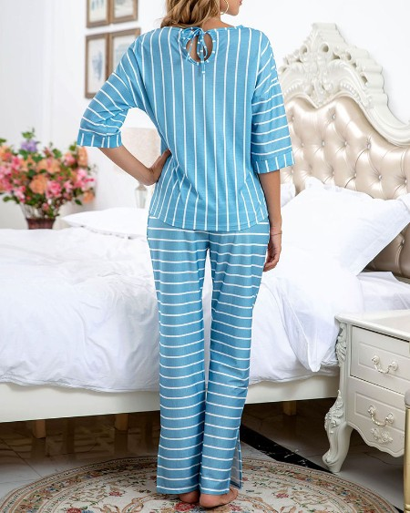 Striped Three-quarter Sleeve Loose T-shirt With Pants Suit Sets