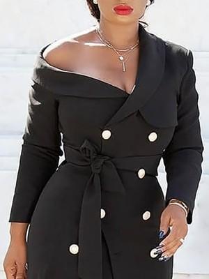 One Shoulder Double-Breasted Belted Blazer Dress