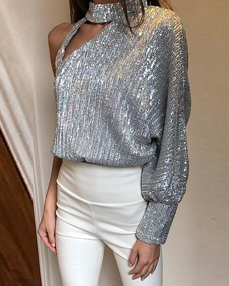Glitter One Shoulder Cut Out Sequins Blouse