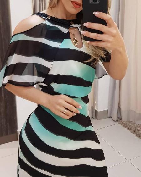 Striped Colorblock Cold Shoulder Cutout Front Dress