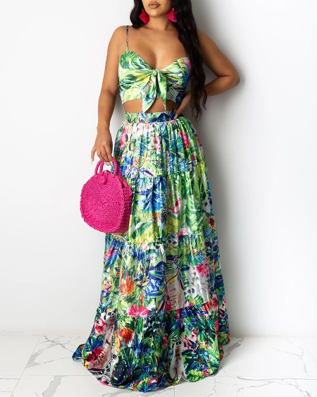 Floral Print Knot Front Design Maxi Dress