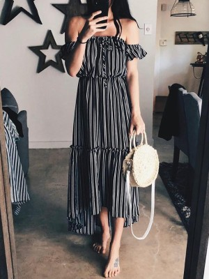 Striped Off Shoulder Ruffles Frills Irregular Dress