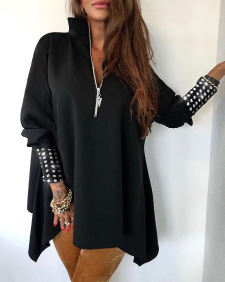 Studed Lantern Sleeve Zipper Front Blouse