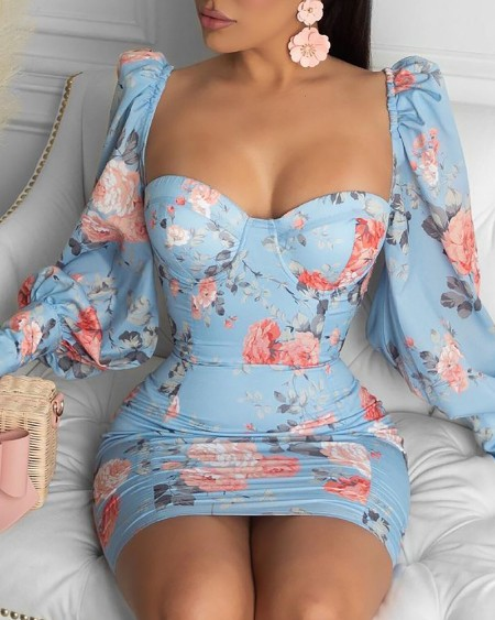 Floral Print Lantern Sleeve Bodycon Dress
