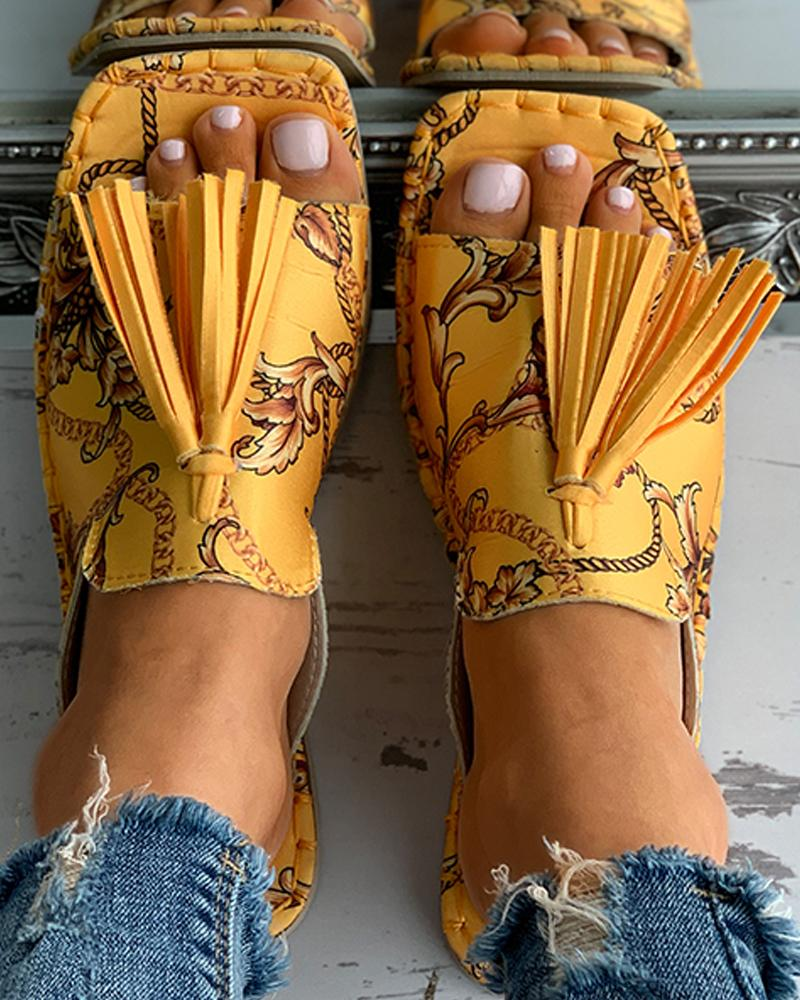 Scarf Print Tassel Design Square Toe Flat Sandals, Yellow