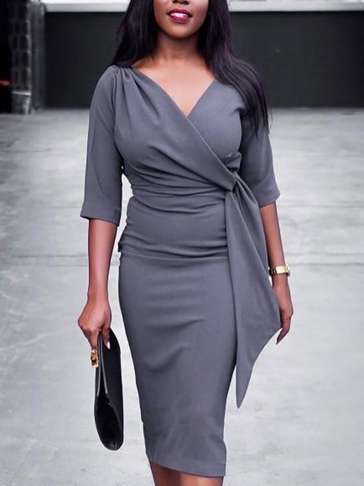 boutiquefeel / V Neck Tie Waist Slit Back Wrap Bodycon Dress