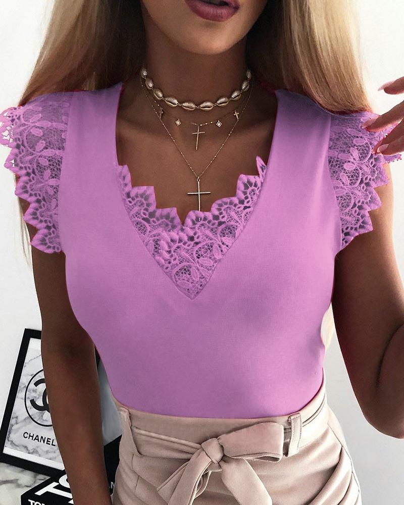 Women Fashion Sleeveless Lace Stitching Top thumbnail