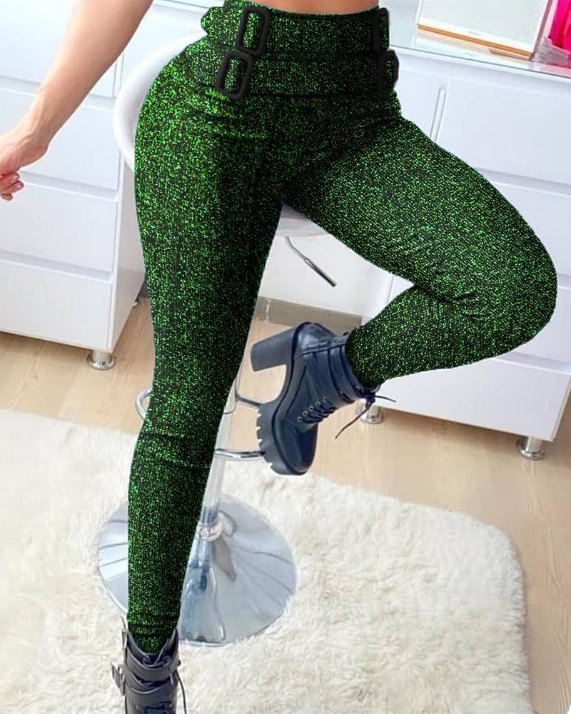 High Waist Glitter Buckled Skinny Pants thumbnail