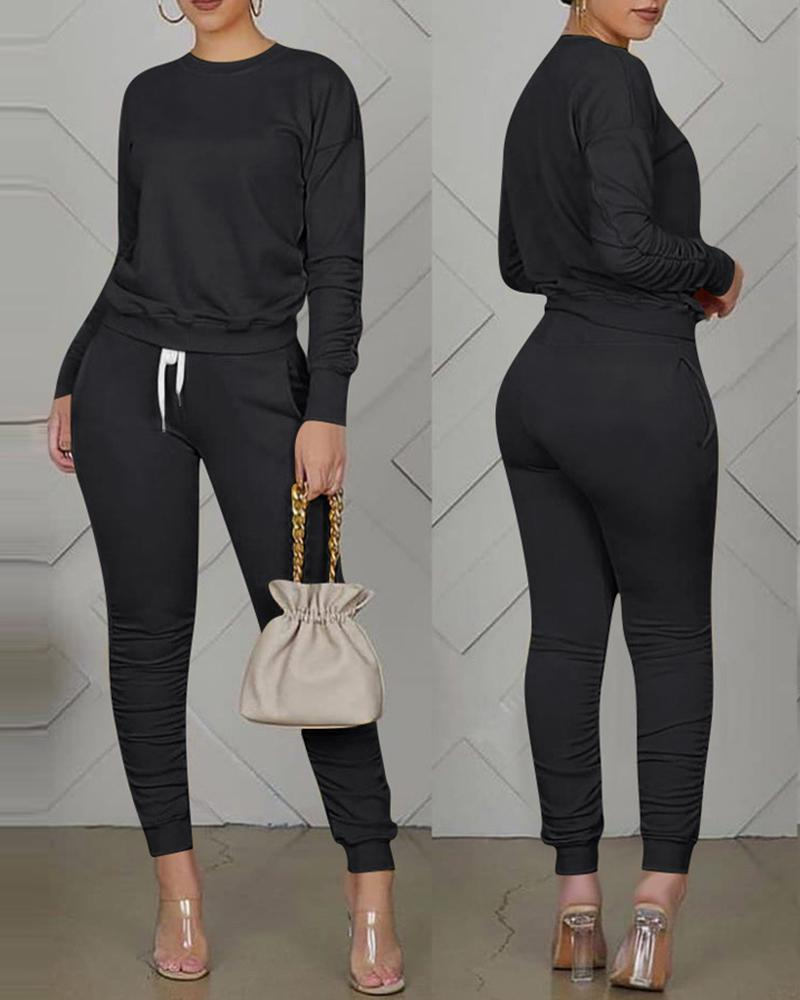 Long Sleeve Top & Pocket Design Drawstring Pants set thumbnail