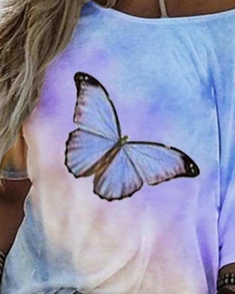 Butterfly Tie Dye Print Casual T shirt
