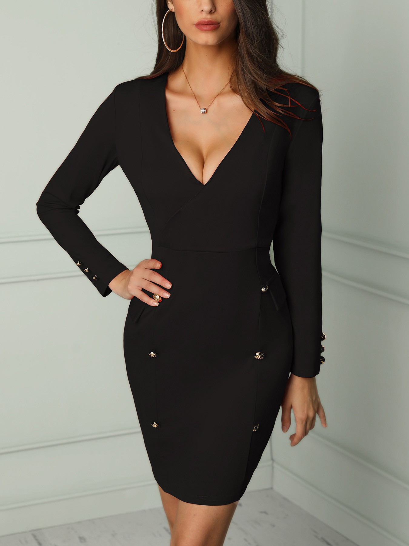 boutiquefeel / Solid V Neck Double-Breasted Bodycon Dress