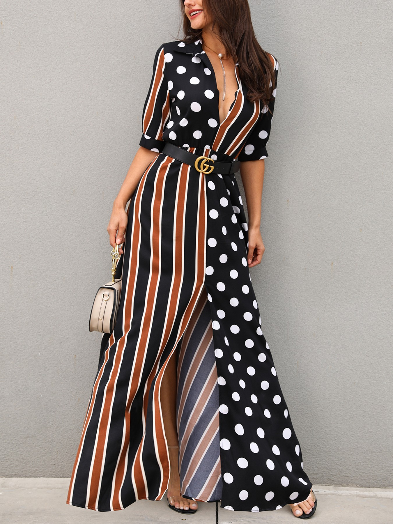 boutiquefeel / Dots & Stripes Plunge Slit Maxi Dress