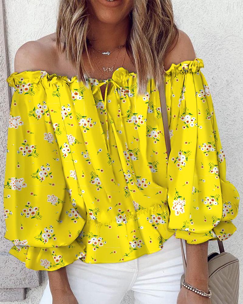 Off Shoulder Floral Print Lantern Sleeve Top, Yellow