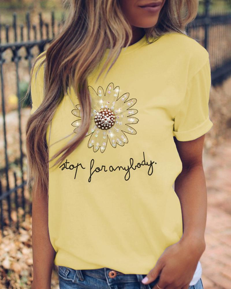 Letter Pattern Studded Beaded Casual T-shirt thumbnail