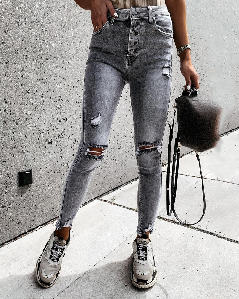 Cutout Ripped Button Design Casual Jeans thumbnail