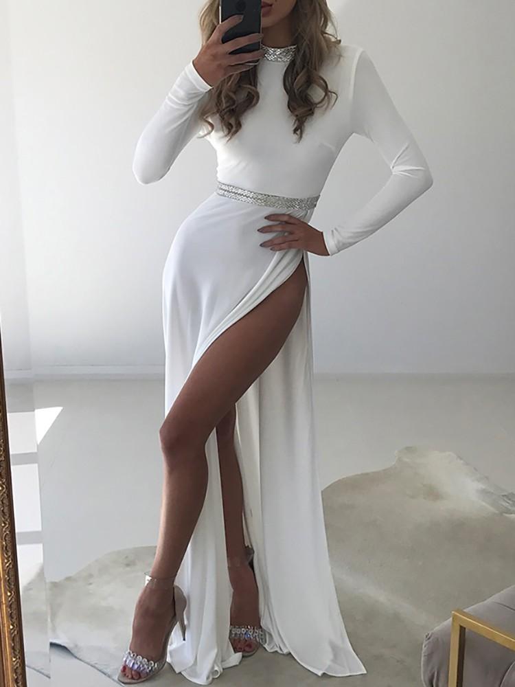 Sparkly High Slit Long Sleeve Maxi Dress
