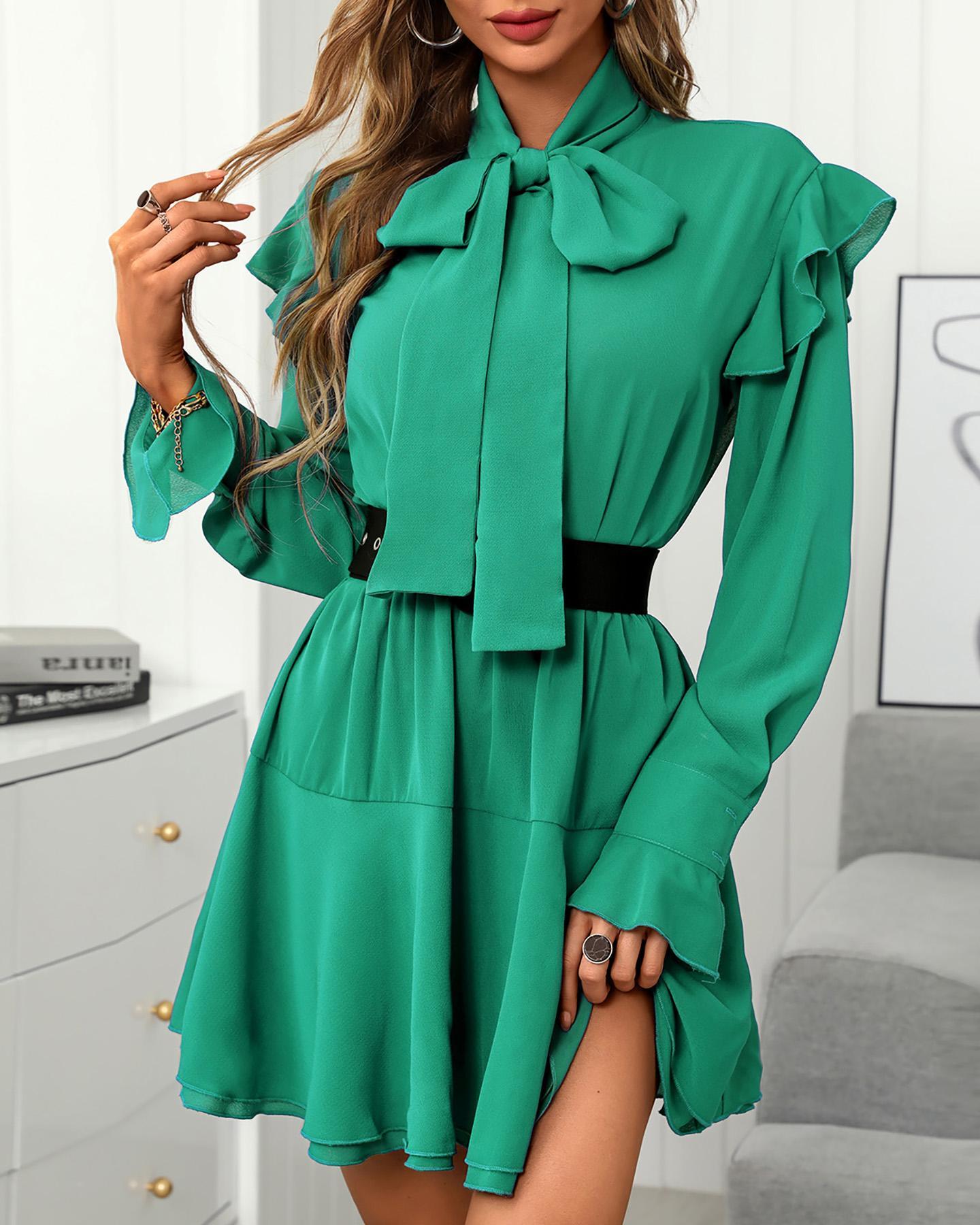 Plain Flared Sleeve Ruffle Hem Dress, Green