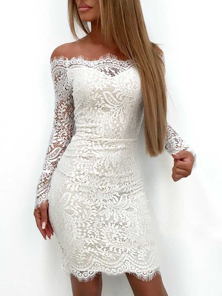 Splicing Lace Applique Off Shoulder Bodycon Dress 15d990b8e4da